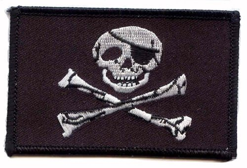 Jolly Roger iron-on embroidered patch