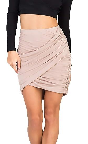 Mujer Falda Elegante Falda De Verano Cintura Alta Colores Sólidos ...