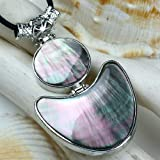 35x50mm Black Abalone Shell Round Triangle GIFT Pendant [1 PENDANT without Necklace] - from Hibiscus Express