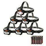 EverBrite 6-pack Headlamp LED 150 Lumens Battery Operated Super Bright with 2 Red Lights AAA Batteries Included