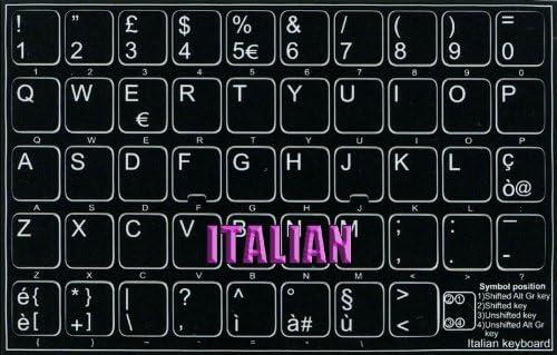 ITALIAN NON-TRANSPARENT KEYBOARD STICKER ON BLACK BACKGROUND