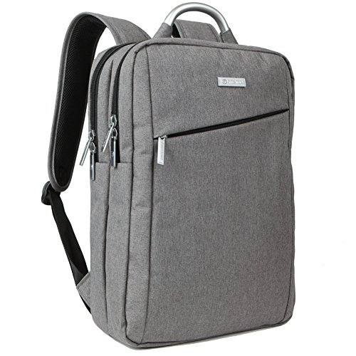 Slim Business Laptop Backpack Travel Bag for Men and Women fit up to 15.6 Inch Macbook Computers, Grey