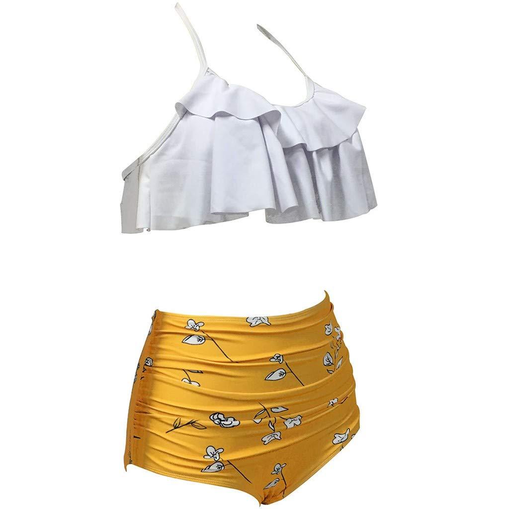 Sumen Retro Flounce High Waist Bikini Halter Neck Bikini Two Piece Swimsuit