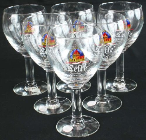 Vintage Set of 6 Leffe Belgian Abbey Beer Glasses