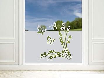 Graz Design 980147_110x57 Sichtschutzfolie Fenstertattoo Fensteraufkleber  Kinderzimmer Schmetterlinge Blumen (Greu003d110x57cm)