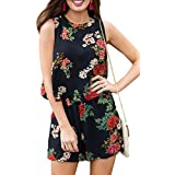 For G and PL Women Chiffon Floral Print Playsuit Bohemian Sleeveless Casual Short Jumpsuit Romper Black L