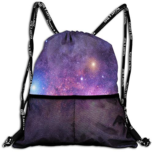 All agree Drawstring Bag Space Galaxy HD Womens Gym Backpack Vintage Mens Travel Canvas Bags for Girls