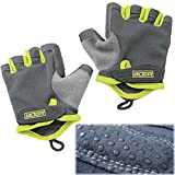 Eloiro Half Gloves, Men/Women Light Breathable Nylon & Faux Leather Anti-Slip Shock-Absorbing Grip w/ Velcro Strap for Sports & Workout-Fishing, Racing, Cycling, Skating, Climbing Green & Grey, Size S