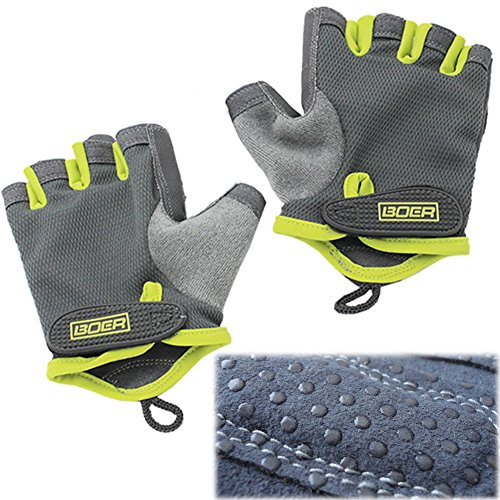 Eloiro Half Gloves, Men/Women Light Breathable Nylon & Faux Leather Anti-Slip Shock-Absorbing Grip w/ Velcro Strap for Sports & Workout-Fishing, Racing, Cycling, Skating, Climbing Green & Grey, Size S by Eloiro