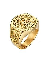 NALATI Fashion Men 18K Gold plated Titanium Steel Ring