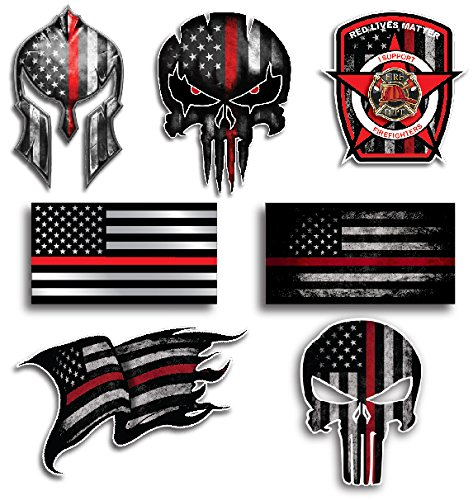 Mega Variety Pack of Thin Red Line Firefighter Fire Department Fire Truck Red Lives Matter Decal Sticker Car Truck RLM(7 Pack)