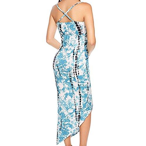 En El Verano Señora Delgado Irregular Auto-cultivo Con Un Dobladillo Vestido Blue