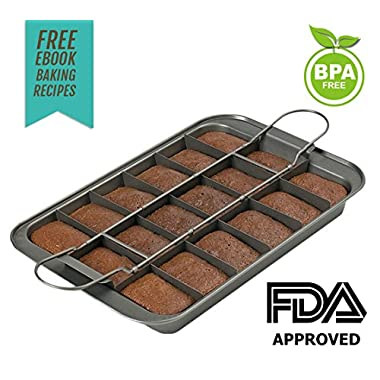 Brownie Maker Pro | Most Attractive Non-Stick Brownie Pan for Making 18 Small Pieces or 1 Large Brownie | Food Grade Metal Material | Superb Cold and Heat Resistant | Dishwasher Safe Series | Black