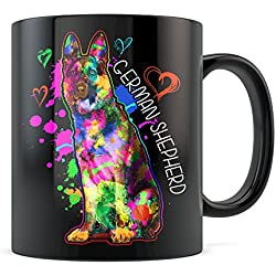 German Shepherd Coffee Mug Art Colorful Rainbow Gift Love Dogs