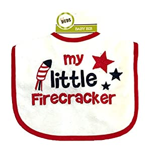 July 4th - Independence Day Embroidered Bib - My Little Firecracker- Red-White-Blue