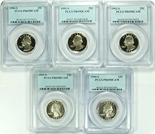 "0 S 1990-94S Date Run of ""5"" SET PCGS PR69DCAM Washington Quarters Quarter DCAM PCGS PR-69"