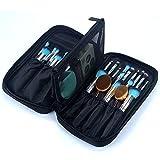 OR Pure Professional Cosmetic Makeup Brush Organizer Makeup Artist Case with Belt Strap Holder Cosmetic Makeup Bag Handbag Black