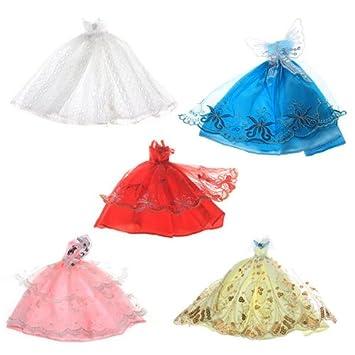 5 x vestido ropa princesa fiesta boda para Barbie muñeca juguete niño