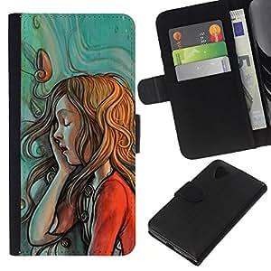 KLONGSHOP // Tirón de la caja Cartera de cuero con ranuras para tarjetas - pintura menta boceto rojo pelirroja verde - LG Nexus 5 D820 D821 //