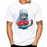 Men T-shirt,Toponly Men Boys 3D Cute Boxing Cat Summer Short Sleeve T-Shirts Top Tee