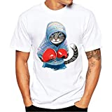 Men T-shirt,Toponly Men Boys 3D Cute Boxing Cat Summer Short Sleeve T-Shirts Top Tee (Fashion Blue, XXXL)