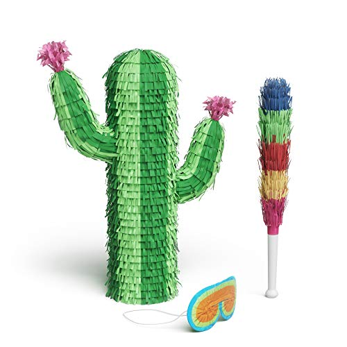 Pinatas For Parties (Cactus Piñata Bundle with a Blindfold and Bat _ Perfect Sized Piñata For Birthday Parties, Kids Carnival and Related Events _ Can Hold Up to 3lb's of Candy _ 18.5)