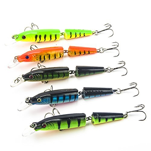 Kredy 5pcs/lot 10.5cm 4.13'' 3D Fishing Eyes Laser Line Hard Minnow Baits Life-like Swimbait Fishing Lures Bass Crankbait Tackle for Pikes/Bass/Trout /Walleye/Redfish /Catfish / Grouper / Luce
