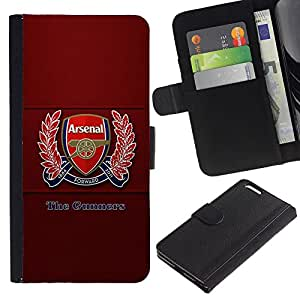 ULTIX Cases / Apple Iphone 6 PLUS 5.5 / THE GUNNERS - FOOTBALL SOCCER / Cuero PU Delgado caso Billetera cubierta Shell Armor Funda Case Cover Wallet Credit Card