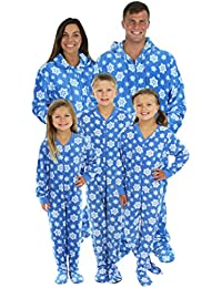 Family Matching Blue Snowflake Onesie PJS Footed Pajamas