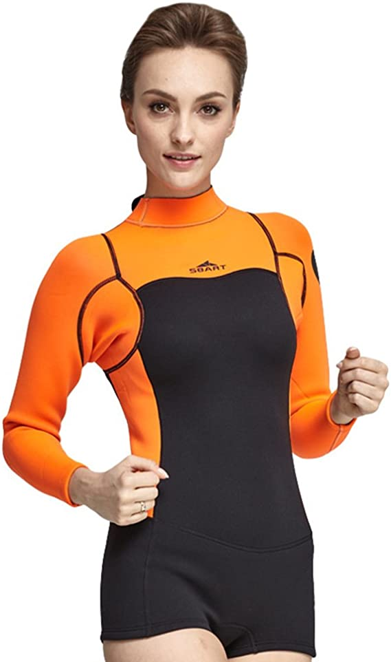 Allywit Woman One Piece Short Sleeve Snorkeling Surfing Swim Suit 2mm Neoprene Conjoined Diving Suit Thin Wetsuit New
