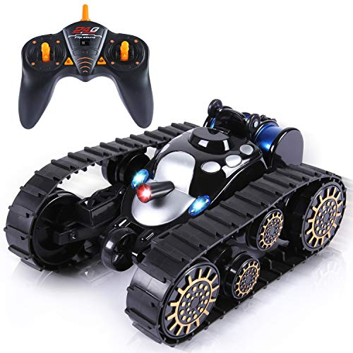 SGILE RC Remote Control Tank Toy with 360 Flip LED Lights Music Anti-Shock Continuous Track ,Black