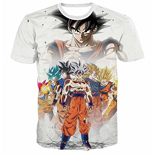 Yangxinyuan Summer New Unisex Creative Short Sleeve Dragon Ball 3D Goku Print T-Shirt (2XL, G15-2)