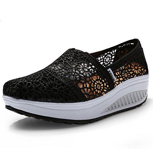 Nero Multisport Ginnastica Da Piattaforma Sneaker Estive Casual Running Hishoes Traspirante Outdoor Donna Sandali Scarpe Mesh AxqEv6