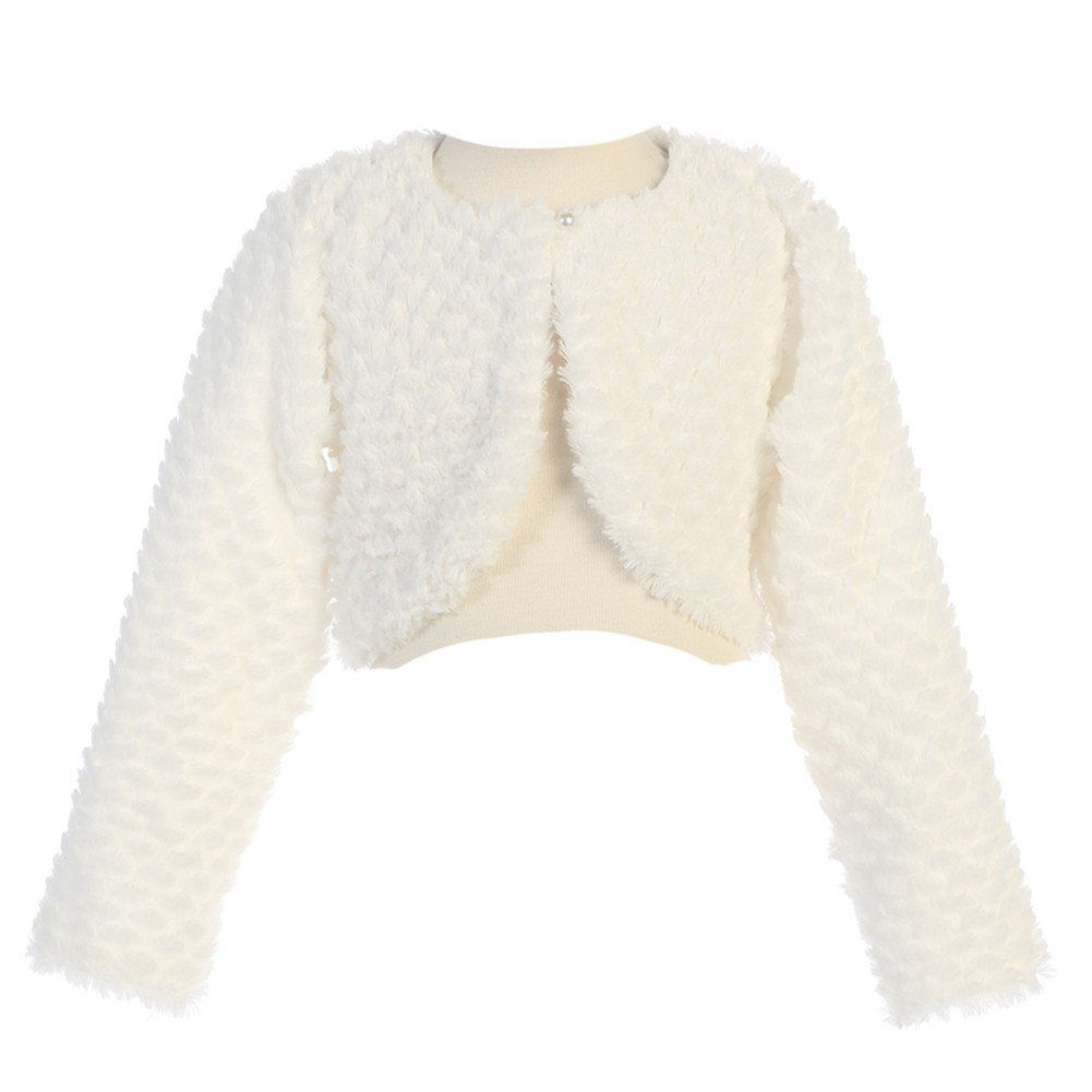 Swea Pea & Lilli Lito Little Girls Ivory Long Sleeve Single Button Faux Fur Bolero 4/5