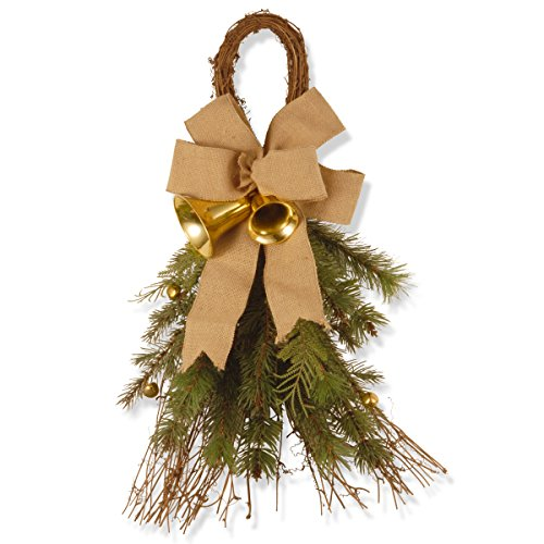 National Tree 24 Inch Decorative Collection Wall Decorations with Burlap Bow & Bell (DC3-172-24D)