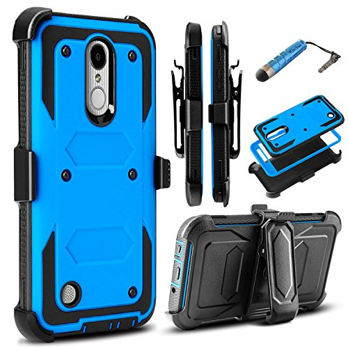 LG Aristo 3/Aristo 2/Aristo/LV3 2018/LG K8 2017/LG Phoenix 3 4/Fortune 2 Case, Rugged Dual-Layer Armor Drop Protection Case with Swivel [Kickstand] Belt Clip Built-in Screen Protector - Blue