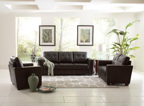 Coaster Home Furnishings 503702 Casual Contemporary Loveseat, Black