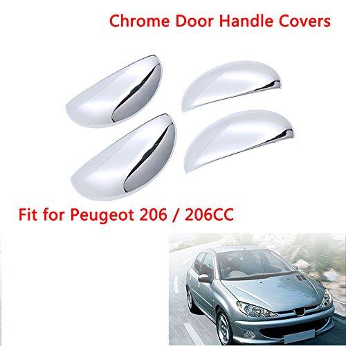 Ajuste para 206/206CC cromado para manillar de puerta, 4 piezas, izquierdo y derecho: Amazon.es: Coche y moto