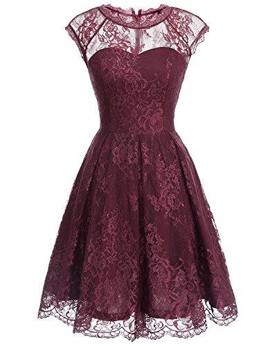 Bbonlinedress Vestido de Fiesta Floral del Oscilación del Cóctel del Cordón del Cuello Redondo de la Vendimia de Las Mujeres Burgundy
