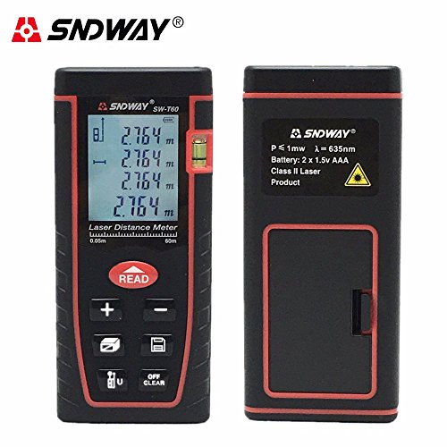 SNDWAY Laser Distance Measure 196ft/60m, Professional Digital Diastimeter Measure Multi Measurement Modes Portable Handle Tool Range Finder with Bubble Level and Large Backlit LCD 4 Line Display