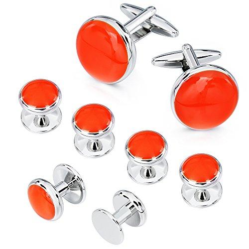 AMITER Cufflinks and Tuxedo Shirt Studs Set for Men Classic Orange Enamel Round Shape with Gift Box - Formal Business Wedding Anniversary -