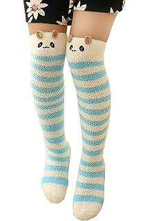 70e150801 Girl s Leg Warmers Soft Warm Animal Coral Fleece Thigh High Long Striped  Socks