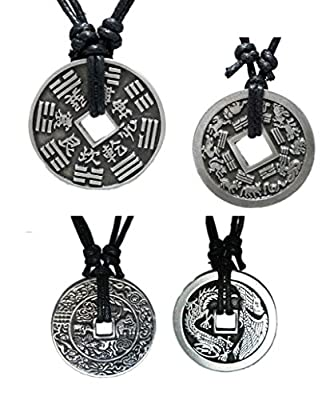 Chinese Lucky Coin Charm Pewter Pendant + Rope Necklace Adjustable