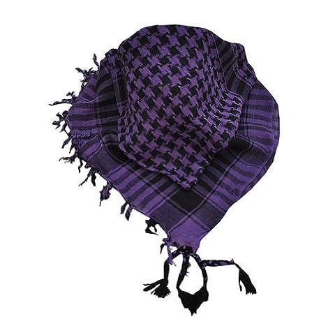 Toutacoo, Palestinian Keffiyeh 100% Cotton, Shemagh Scarf Black / Purple (Palestinian Scarf For Men)