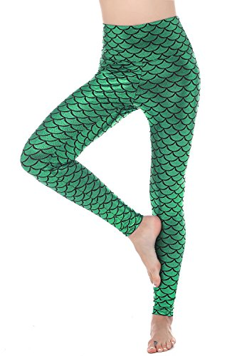 RIKKI Women Sexy Mermaid Fish Scale Hologram Stretch Soft Shine Leggings (X-Large, Green (High Waist)) by RIKKI (Image #2)