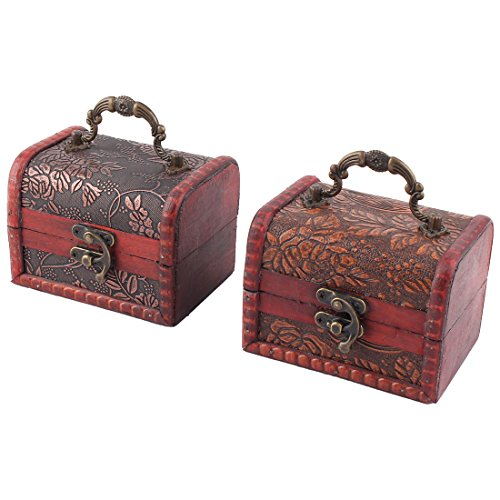 uxcell Wood Flower Pattern Family Ring Jewelry Candy Box Case Organizer 2 Pcs Dark Red by uxcell (Image #4)