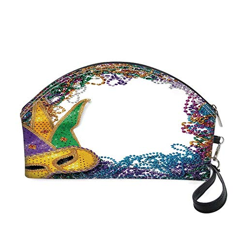 Mardi Gras Small portable cosmetic bag,Colorful Framework Design with Vibrant Beads and Mask Fat Tuesday Holiday Theme Decorative for Women,10.8