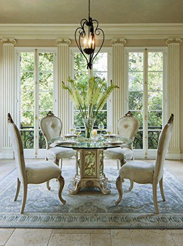 Platine de Royale 54 inch Round Glass Top 5pc Dining Table Set by Michael Amini