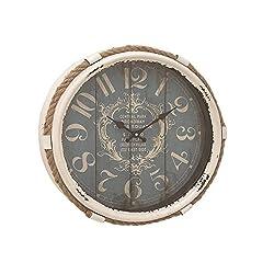 Deco 79 52558 Metal Rope Glass Wall Clock, 17