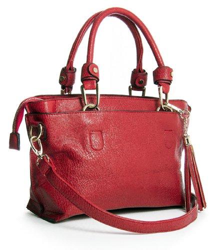 Big Bag Handbag Vegan Leather Shop Tassel Pockets Satchel Womens Multi Small Red Shoulder ttrdPwxq